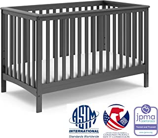 Storkcraft Hillcrest Fixed Side Convertible Crib, Gray, Easily Converts to Toddler Bed Day Bed or Full Bed, Adjustable Height Mattress, Some Assembly Required (Mattress Not Included)