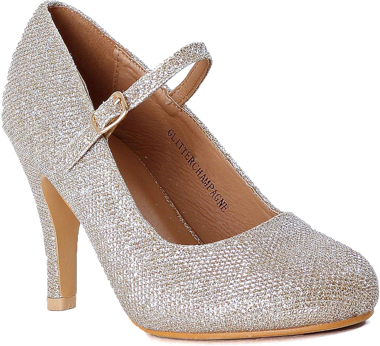 Guilty Heart - Women's Fashion Round Toe Buckle Strap Dress Cushioned High Heel Pump