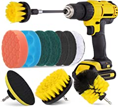 Hiware 12 Pcs Drill Brush Attachment Set for Cleaning - Power Scrubber Drill Brush Pad Sponge Kit with Extend Attachment f...