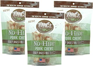 Earth Animal 3 Pack of No Hide Pork Recipe Dog Chews, Two 4 Inch Treats Per Pack