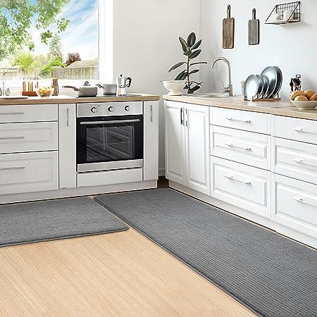 Color&Geometry Juego de 2 Piezas de Alfombra Cocina Lavable Antideslizante,alfombras Cocina 44x75cm+44x150cm,alfombras para Cocina Adecuada para pasillos,entradas,manteles Individuales.(Gris)