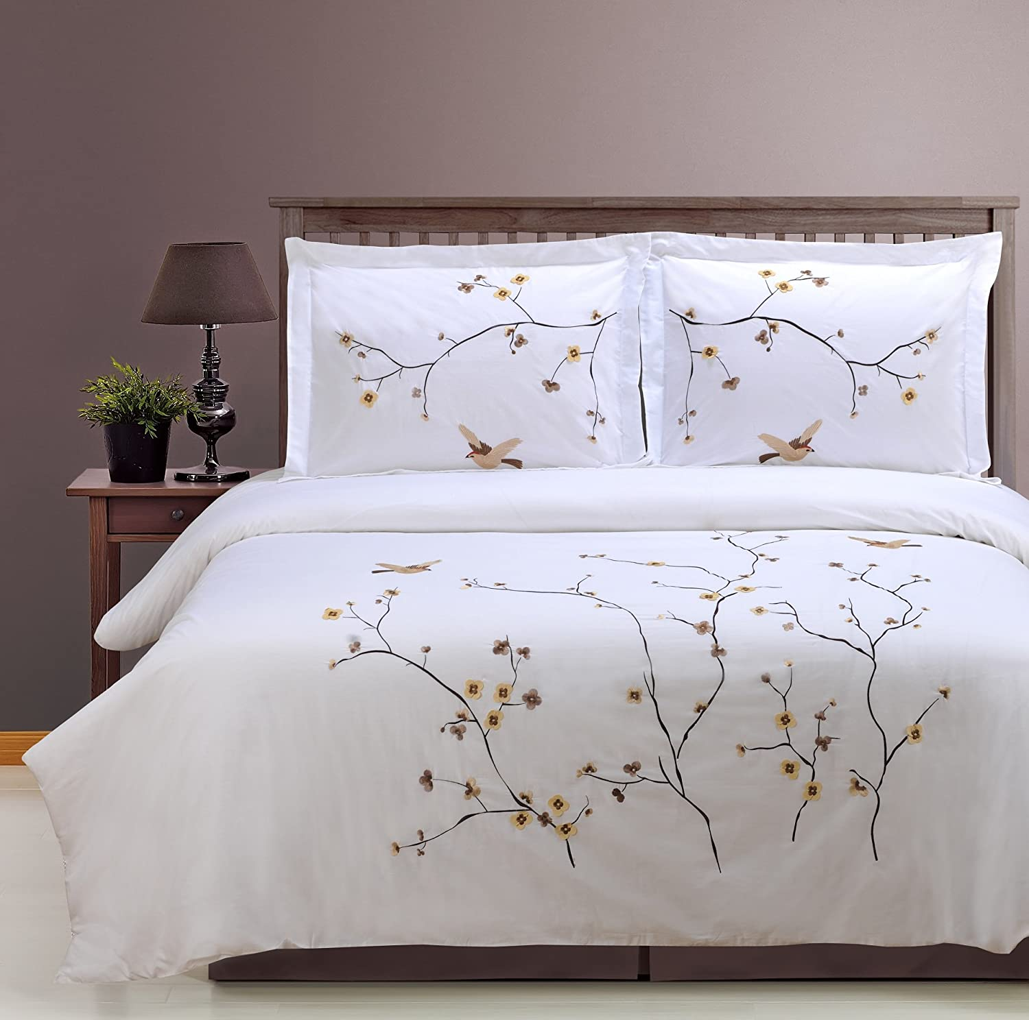 SUPERIOR Blossom Embroidered Floral Cover Duvet Mail order cheap Set Long-Staple Genuine Free Shipping