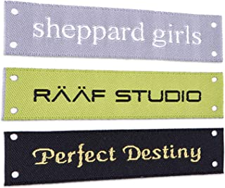 Wunderlabel Personalized Custom Customized Text Sew On Woven Damask Label Four Corner Holes Clothing Tags Ribbons Sewing Handmade Fashion Garment Arts Craft, 50 Labels