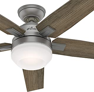Hunter 52 inch Contemporary Indoor Ceiling Fan with Light Kit and Remote Control Matt Silver Finish (Renewed)