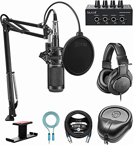 discount Audio-Technica AT2035PK Streaming/Podcasting Pack Bundle wholesale with Blucoil Portable Headphone Amp, Pop Filter, 10' XLR outlet sale Cable, 6' 3.5mm Extension Cable, Aluminum Headphone Hook, and Slappa Headphone Case online sale