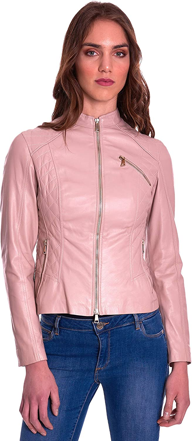 Pink Quilted Nappa Lamb Leather Biker Jacket with Zipper Pockets