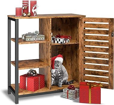 IRONCK Industrial Storage Cabinet, Cupboard, Multipurpose Floor Standing Cabinet, 3 Open Shelves and Inner Adjustable Shelf,