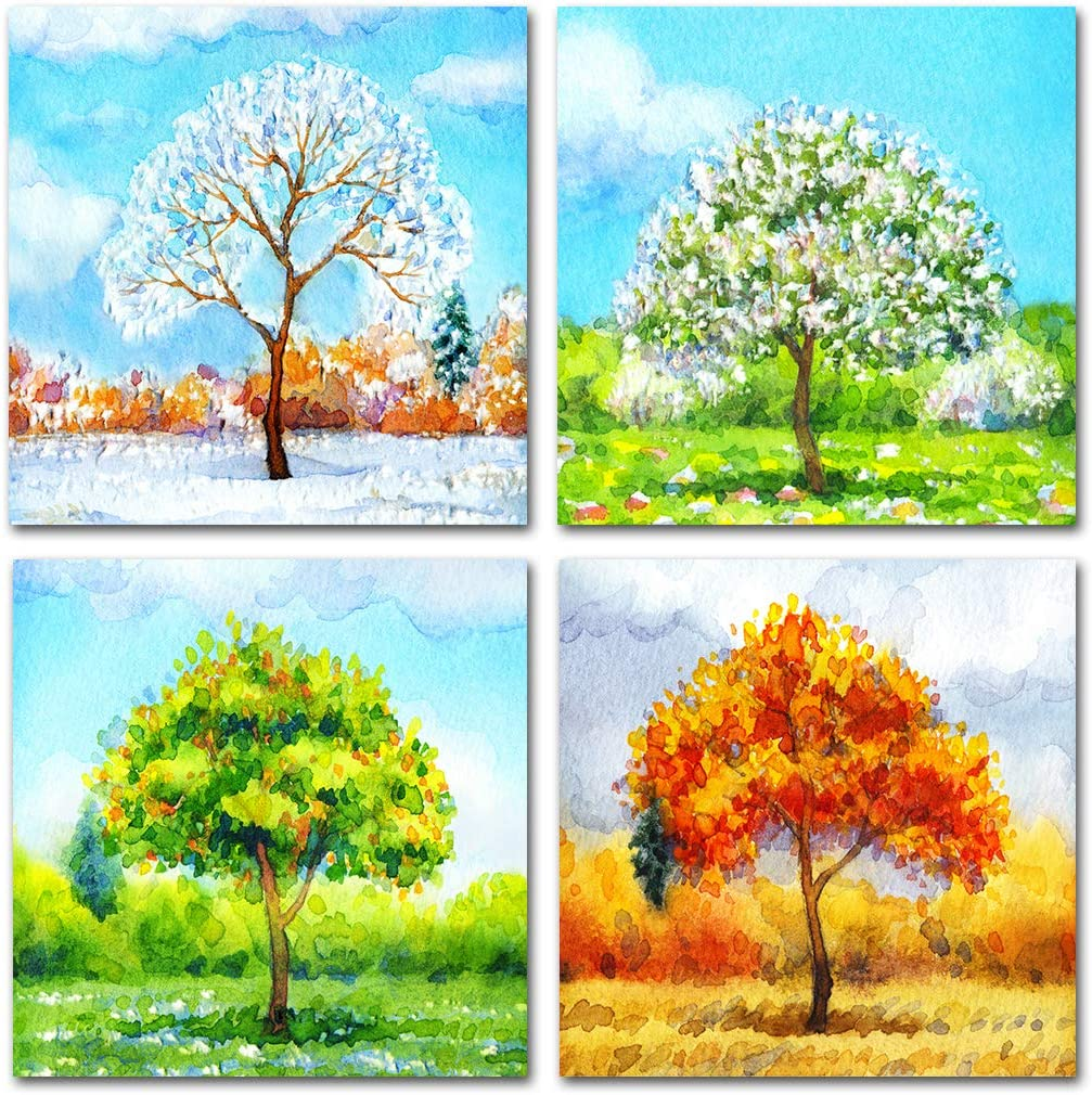 QTESPEII 4 Pieces Colorful New Shipping Free Shipping Tree Lands Art Watercolor Canvas Wall National uniform free shipping
