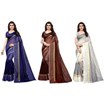 GoSriKi Women's Synthetic Saree with Blouse Piece (Pack of 3;Multicolour)