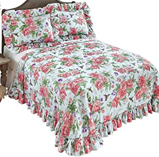 Collections Etc Peony Floral Hummingbird Garden Plisse Ruffled Edge Bedspread, Blue, Queen