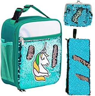 IAMGlobal Insulated Mermaid Lunch Box, Unicorn Lunch Bag, Reversible Sequin Lunch Tote Bag, Handheld Reusable Lunch Box With A Pencil Case, A Mini Purse For Girls Boy (Green 2)