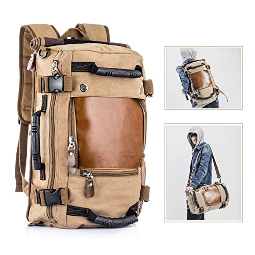 2c97c4b397a0f Overmont Vintage Herren Rucksack Multifunktionale Tasche für Reise Camping  Wandern Ausflug Outdoor Khaki Schwarz