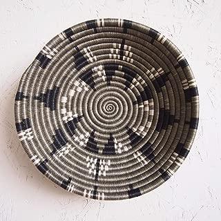 African Basket- Tumba/Rwanda Basket/Woven Bowl/Sisal & Sweetgrass Basket/Taupe, Black, White