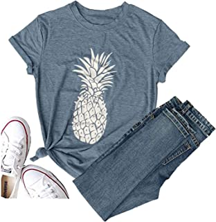 Pineapple Women's Funny Thanksgiving T Shirt Lover Short Sleeve Graphic Tees Blouse