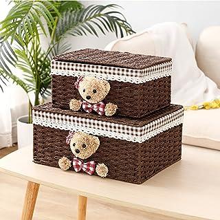 HTTC Boîte de Rangement avec Couvercle, Panier de Rangement tissé décoratif 2 pièces, adapté aux couvertures, armoires, Jo...