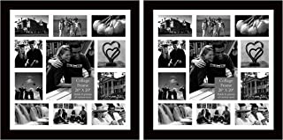Studio 500 2-Pack Set of 20 by 20-inch 100% Real Wood Collage Frames, 100% Tempered Glass, Frames Come with 1pc Ivory White Core, Matte Board for 11 Picture Openings, Black
