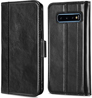 Procase Galaxy S10 Plus Genuine Leather Case, Vintage Wallet Folding Flip Case with Kickstand Card Holders Magnetic Closure Protective Book Cover for Galaxy S10+ 2019 Release -Black