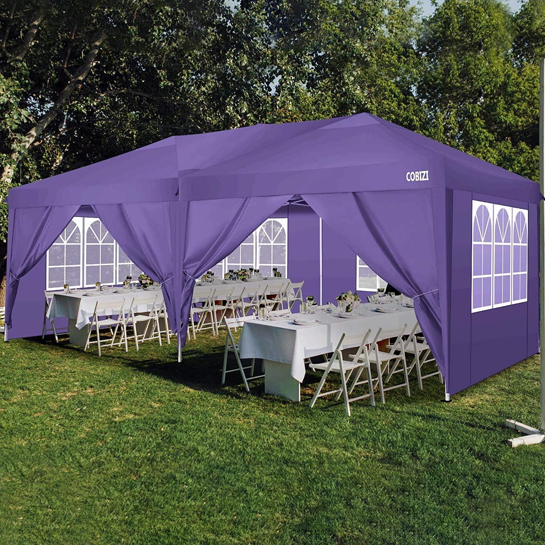 COBIZI Pavillon 3x3 Wasserdichter Gartenpavillon Zelt Hochzeitsfeier Instant Event Shelter mit 4 Abnehmbaren Seitenw/änden Seile x 4 Pf/ähle x 8