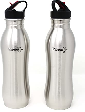 Pigeon By Stovekraft Swig Stainless Steel Water Bottle, 750 ml, Pack of 2, Silver