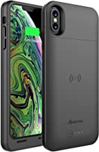 Alpatronix iPhone Xs Max Battery Case, Ultra Slim Portable Protective Extended Charger Cover with Qi Wireless Charging Compatible with iPhone Xs Max (6.5 inch) BXXt Max - (Black)