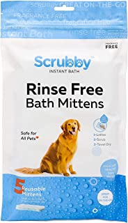 ScrubbyPet No Rinse Pet Wipes- Use for Pet Bathing, Pet Grooming, and Pet Washing, Simple to Use,Just Lather, Wi (15-Count Mittens)