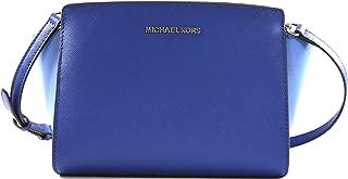 Michael Kors Women's Selma Medium Saffiano Leather Messenger Crossbody Bag Purse Handbag, Merlot
