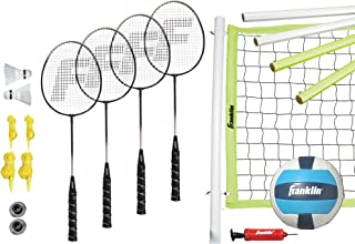 Franklin Sports Volleyball and Badminton Combo Set - Portable Volleyball and Badminton Net with Ball, Racquets and Birdies...