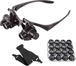 AOMEKIE メガネルーペ LED付きルーペ めがね型 虫眼鏡 拡大鏡 LEDライト付き 両眼 ジュエラーウォッチ修理 8対レンズ:2.5X/4X/6X/8X/10X/15X/20X/25X