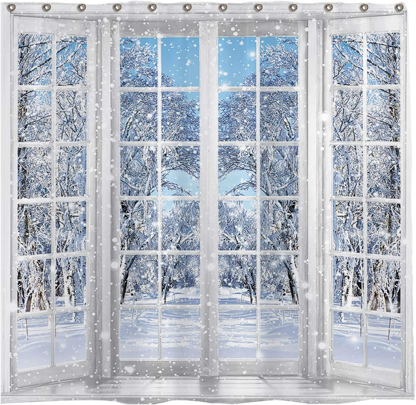 Allenjoy 72x72 inch Winter French Window Shower Curtain Set with 12 Hooks Beautiful Nature Snowy Scenery Bathroom Curtain Durable Waterproof Fabric Bathtub Sets Home Decor