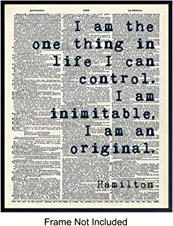 Inspirational Hamilton Quote Wall Art Decor Dictionary Print - 8x10 Upcycled Motivational Home Decoration Poster for Bedroom, Office - Gift for History Fans