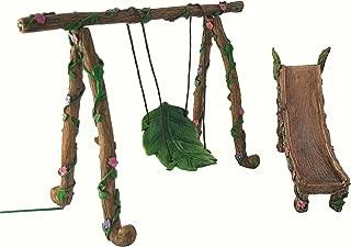 GlitZGlam Fairy and Gnome Miniature Swing and Slide Set - A Fairy Garden Accessory