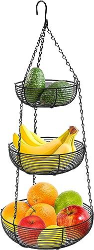 2021 CAXXA 3-Tier lowest Hanging Basket Fruit Organizer Kitchen Heavy Duty Wire Organizer with 2021 2 Free Bonus Metal Ceiling Hooks, Black online