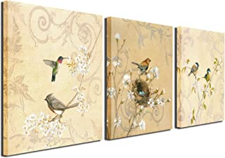 Birds Canvas Prints Wall Art Pictures Abstract Flowers Paintings Artworks for Living Room Bedroom Office Decoration, 12x12 inch, Framed