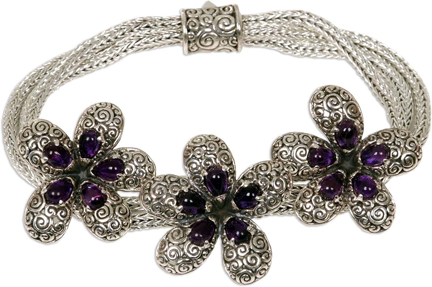Same day shipping NOVICA Amethyst .925 Sterling Silver Plume 7.5