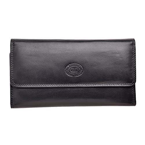 c1d8536166b Ladies Soft Nappa Large Matinee Leather Purse with Back and Inner Zip  (Navy/Dark