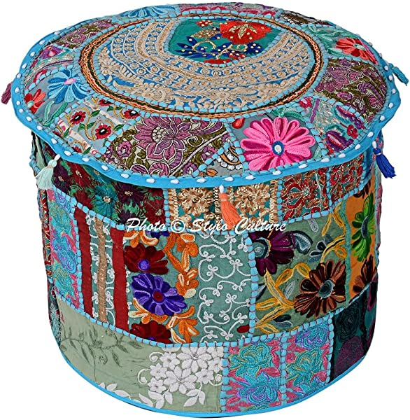 Stylo Culture Traditional Seating Cotton Patchwork Embroidered Ottoman Stool Pouf Cover Turquoise Floral 16 Footstool Floor Cushion Cover Ethnic Decor