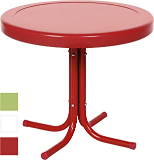 Best Choice Products 22in Modern Round Metal Side Table w/UV and Weather Resistant Finish - Red