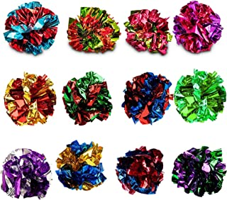 SunGrow Mylar Crinkle Balls For Cats, 1.5-2 Inches, Shiny And Stress Buster Toy, Lightweight And Suitable For Multiple Cat...