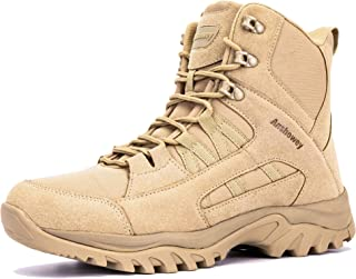 Ansbowey® Hiking Boots Mens Womens Trekking Shoes Outdoor Army Combat Tactical Patrol Boots with Side YKK Zip for Unisex A...
