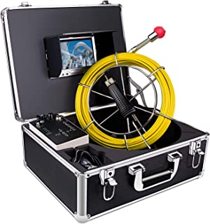 HBUDS Pipe Inspection Camera, Pipeline Drain Sewer Industrial Endoscope, PC30M Waterproof IP68 30M/100ft Snake Video System with 7 Inch LCD Monitor 1000TVL Sony CCD DVR Recorder (8GB SD Card Include)