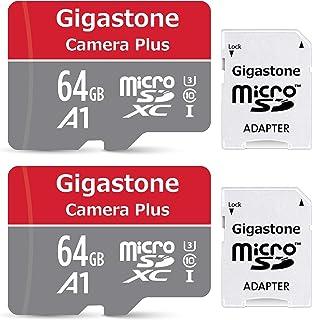 Gigastone Micro SD Card 64GB マイクロSDカード フルHD 2Pack 2個セット 2 SDアダプタ付 2 ミニ収納ケース付 w/adapter and case SDXC U1 C10 90MB/S 高速 メモリー...