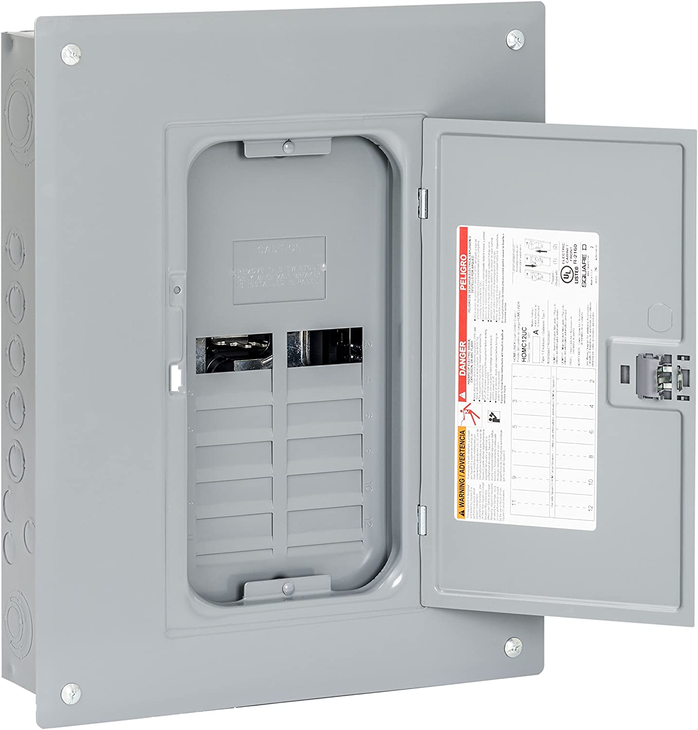 Square D by Schneider Electric HOM1224L125PC Homeline 125 Amp 12-Space 24-Circuit Indoor Main Lugs Load Center with Cover (Plug-on Neutral Ready), Gray - -