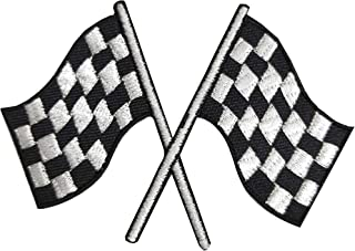 Heavens Tvcz Checkered Racing Flags Auto Car Racing for Mens Women Charms Iron Applique Embroidered Sew Rockabilly Crossed Race Biker White for Clothing Shirt, Cap, Jeans, Pants, Bag, Vest, Jacket