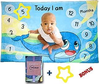 DREAM.IN Baby Milestone Blanket | Minky Soft Fleece Fabric, Boys Girls Unisex | Includes Star Frame | Large 40