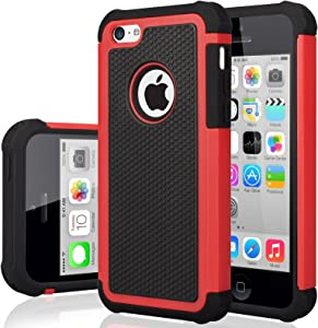 iPhone 5C Case, iPhone 5C Cover, Jeylly Shock Absorbing Hard Plastic Outer + Rubber Silicone Inner Scratch Defender Bumper Rugged Hard Case Cover for iPhone 5C - Red