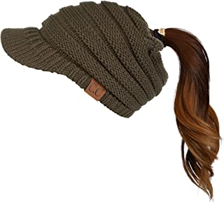 C.C Exclusive Messy Bun Ponytail Visor Brim Beanie Hat (MB-131)