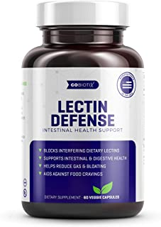 GoBiotix Lectin Defense | Blocks Interfering Dietary Lectins, Aids in Intestinal & Digestive Health with Immune Support | Eases Bloating & Relief from Constipation | Non-GMO, Gluten Free | 60 Capsules