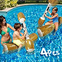 OKJ 4 Pcs inflatable pool toys Fighting Float Row Toys Battle Log Rafts for 2 Players Adults Children Summer Pool Party Wa...
