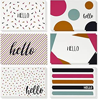 48 Pack All Occasion Assorted Blank on The Inside Note Cards - Greeting Card Bulk Box Set - 6 Modern Hello Designs Notecards with Envelopes Included, 4 x 6 Inches