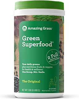 Amazing Grass Green Superfood: Super Greens Powder with Spirulina, Chlorella, Digestive Enzymes & Probiotics, Original, 60...
